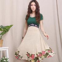 Dress 2014 New fashion Europe Summer dress casual women vestidos plus size retro woman summer Ethnic print dress B11 SV003702