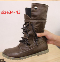 Free Shipping Plus size 34-43 New Fashion Women shoes Motorcycle boots Ankle boots Pleated Lace up Velvet Black Brown Yellow Hot