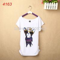 2014 Lady Mickey Minnie Mouse T Shirt Womens Cartoon Short Sleeve T-Shirt Fashion Stripe Tops Tee Plus Size