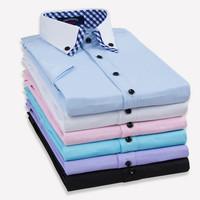 2014 Brand Men Shirt Solid Fashion Casual Men's Shirts Short Sleeve Camisa Social Masculina Slim Fit Mens Dress Shirts