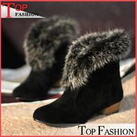 Plus Size 32-43 2014 Autumn boots Leather boots Rabbit Fur Warm wedges shoes for women Pointed Toe Winter Women Botas