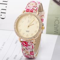 New Fashion popular women flower Print watch ,Gold Dial Rhinestone wrist quartz watch, leather strap dress watches