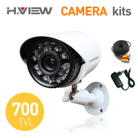 "1/3"" CMOS 700TVL IR Security Weatherproof Surveillance Outdoor CCTV Camera with Power Supply and Video Cable DIY Kits"