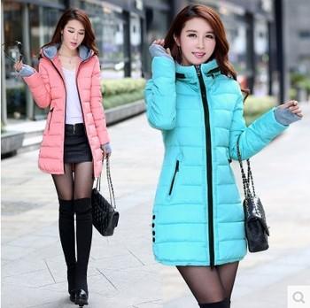 2014 wadded jacket female winter jacket Женщины outerwear slim girl jackets medium-Длинный ...