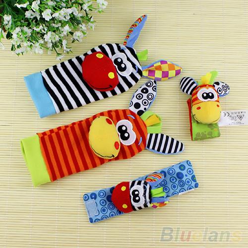 Baby Cute Lovely Infant Kids Foot Socks Rattles finders Glove Toys Developmental Stuffed & Plush(China (Mainland))