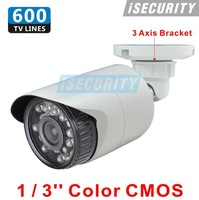 New CMOS 600TVL cctv security camera IR night vision waterproof outdoor CCTV camera with bracket for cctv dvr recorder
