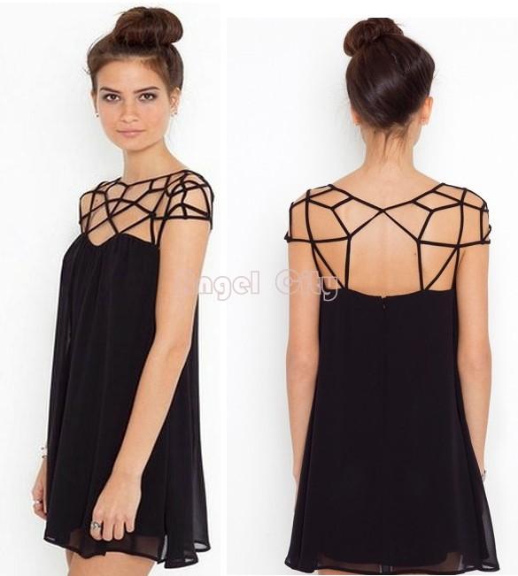 2014 New Fashion Summer Women Cute Novelty Black Party Plain Girl Cut Out Chiffon Mini Shift Dress Sexy Vestidos #6 SV001534(China (Mainland))
