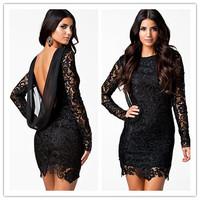 vestido vintage feminine silhouettes Black Crochet Open Back Vintage Dress sexy luxurious  new 2014 sexy Winter  dress for women