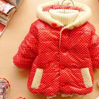 Children coat children clothing baby wear BABY girls downs 2014 new dot bunny girls plus velvet jacket
