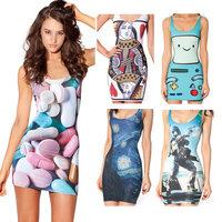 Women Summer Dress 2014 Short Sexy Casual Dress Tight Hip Pack Sheath Vestidos Sleeveless MIni Digital Printed Party Dresses