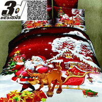 2014 red/blue Christmas Home textile Cotton bedclothes Queen/king comforter/quilt/duvet cover sheet pillowcase 4pc bedding set