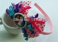 "10 pcs 4"" crystal bows frozen Elsa Anna hair headband bows boutique hair clips bows flower kids Xmas gift hair accessories"