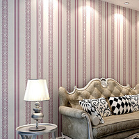 Non woven yarn romantic floral wallpaper, European style bedroom living room home wall paper, Upright strips wallpapers