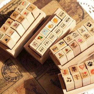 12 pcs/set DIY Cute Cartoon Fashion Wood STAMPTOPIA Stamps for Diary Scrapbooking Decoration Free shipping 036(China (Mainland))