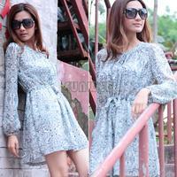 Wonderful New Chiffon Party Evening Dress Shirt Collar Above Knee Long Sleeve Dress Sky Light Blue White Plus Size B16 SV004146