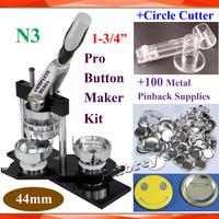 "Pro N3 NEW 1-3/4"":44mm Badge Button Maker Machine + Adjustable Circle Cutter+100 Set Metal Pinback  Button Supply"