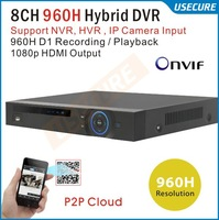 8 channel 960H D1 Real time Recording playback HDMI 1080P Output cctv Hybrid dvr NVR Onvif system DVR Recorder+Free Shipping