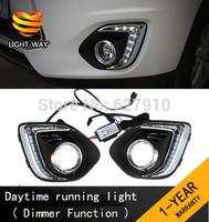 Upgrade ! 9 LED Car DRL Daytime running lights with dimmer function case for Mitsubishi ASX 2013 2014,plating fog lamp frame