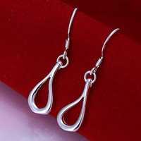 Wholesale 925 Silver Earring,925 Silver Fashion Jewelry Hollow Waterdrop Earrings Free Shipping SMTE037