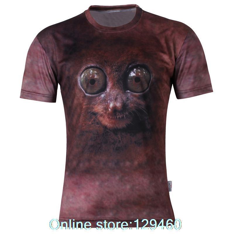 2015 new Korean wave personalized dandy Men Face Animal 3dt hip-hop fashion men's short sleeve shirt t-shirt(China (Mainland))