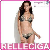 RELLECIGA 2014 Lace Collection-Black + Leopard Print Lace Bikini Swimsuit with Triangle Top and Brazilian Cut Scrunch Butt