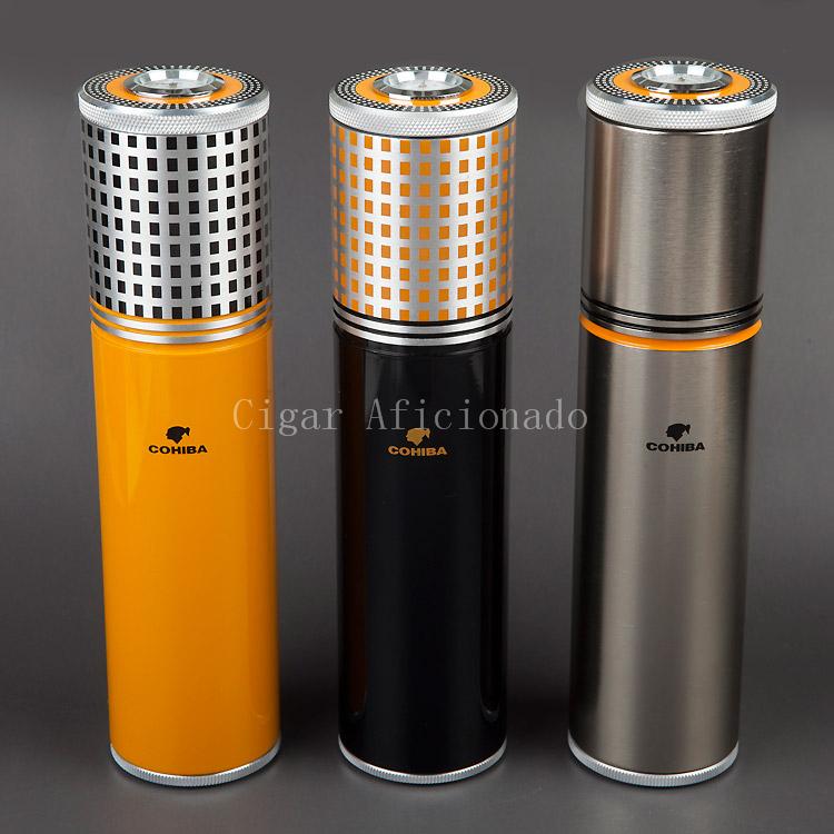 COHIBA Gadgets Yellow&Black&Silver Aluminium Alloy Travel Cigar Tube Portable Jar MINI Humidor W/ Humidifier Hygrometer(China (Mainland))