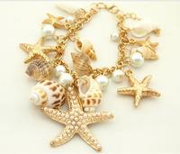Ocean Style Multi Starfish Sea Star Conch Shell Pearl Chain Beach Bracelet Bangle Novelty Hot Selling Y10 MPJ023#S7