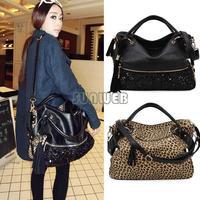 Hot Selling Women's Girls PU Leather Leopard Paillette Sequins Handbag Tote Shoulder Bag Cross-body Bag B16 SV000694