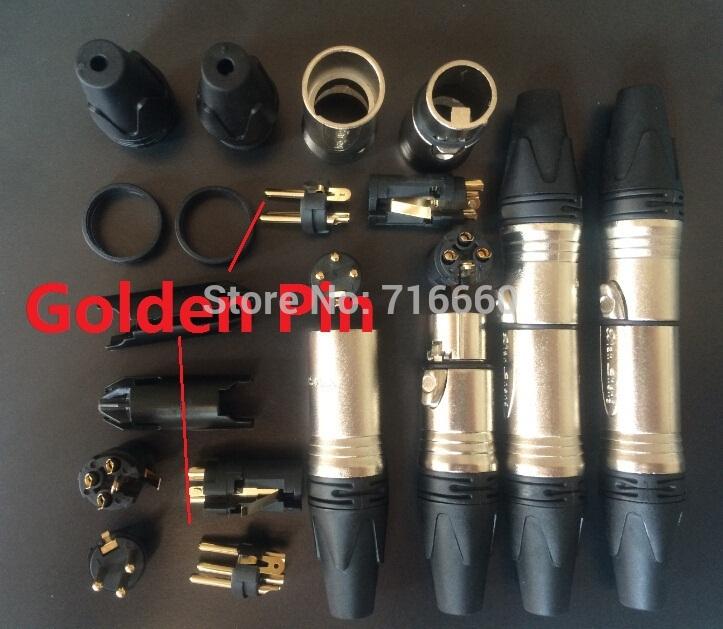 High Quality 20pcs/lot (10pcs Male+10pcs Female ) Neutrik Style Golden 3-Pins cannon XLR Connector Plug Jack for hot selling(China (Mainland))