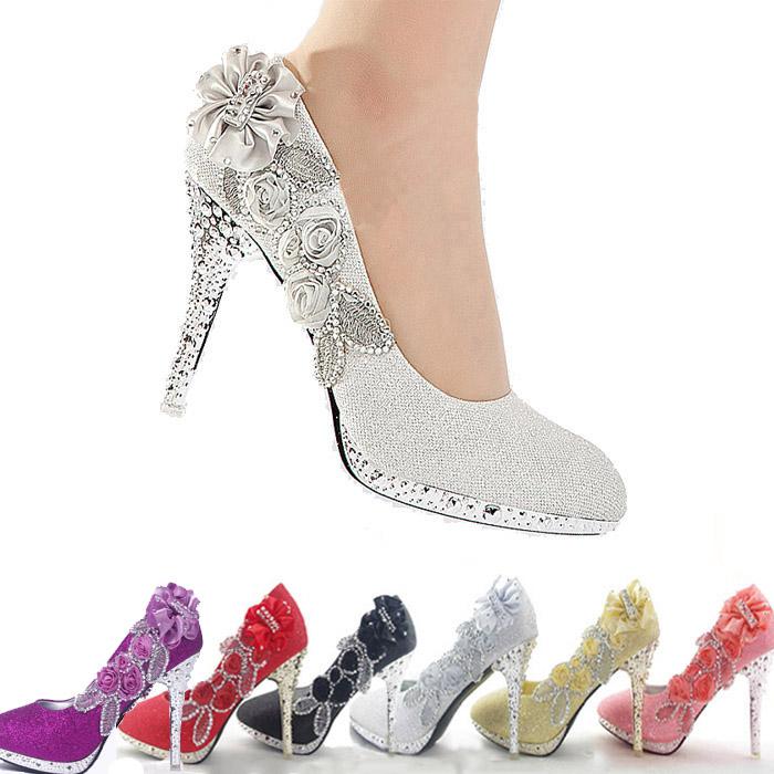 2014 brillo magnífico de la boda nupcial la noche fiesta de cristal de zapatos de tacón alto zapatos mujeres sexy bombas de mujer de moda los zapatos de novia color 6