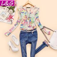 New 2014 Fashion Women Blouses Hot Selling Flower Print Ladies Blouse Women Shirt Spring Summer Blusas Femininas Tops Sale 40093