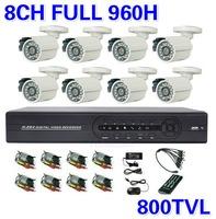 8CH Full 960H DVR CCTV 8CH Security Camera System 800TVL Outdoor Day Night IR Camera DIY Kit Video Surveillance System