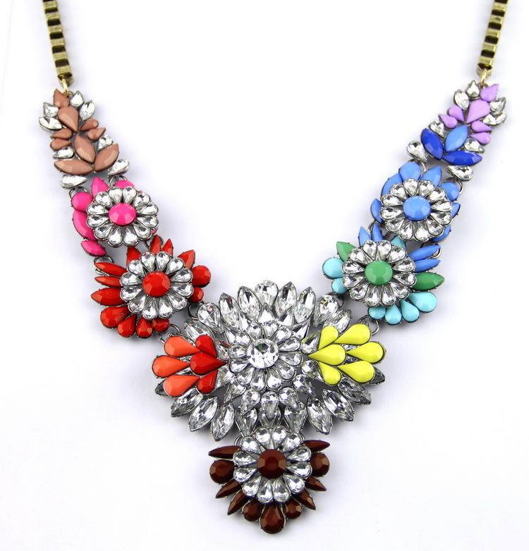 Wholesale Shourouk Chain Chunky Necklace Choker Statement Necklaces & Pendants Fashion Flower Necklace 2015 Women Christmas Gift(China (Mainland))