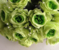 Silk Rose Bunch (18 heads/piece) 37cm 7 Colors Available Artificial Flowers with Grass for Wedding Xmas Party Showcase Decor