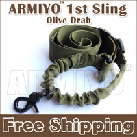 Armiyo 1st Generation Nylon Belt Sling Bungee Strap Metal Hook Swivel Attach Mount Airsoft Shooting Training Sport Olive Drab