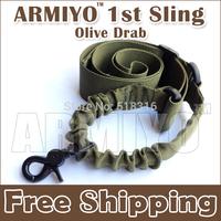 Armiyo Gen 1st Nylon Camera Strap Belt Single Point Sling Bungee Metal Hook Swivel Attach Mount Training Sport Scope Olive Drab