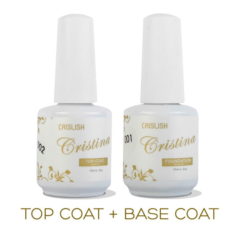 2PCS/LOT Cristina Professional Soak Off Gel Nail Polish Nail Art Top Coat Base Coat Set Uv Gel Varnish Nail Tools Top and Primer(China (Mainland))
