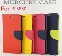 50pcs/lot For Galaxy Ace Hot selling Mercury Wallet PU Flip Leather Cover Credit Card Slots For Samsung Galaxy Ace S5830