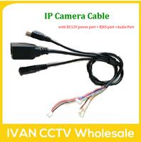 IP Camera Cable with DC12V power port + RJ45 port +Audio Port