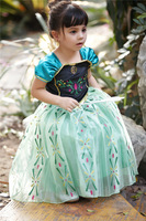 Quality 2014 New Arrival frozen anna elsa cosplay princess dress character costume for kids birthday party anime cosplays