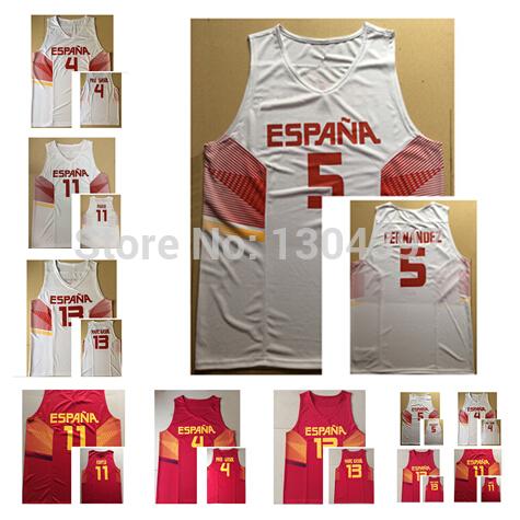 2014 World Cup Team Spain Basketball Jerseys #13 Marc Gasol #5 Rudy Fernandez #4 Pau Gasol #11 Ricky Rubio Jersey Home Red White(China (Mainland))