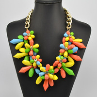 Za transparent big resin crystal clusters flower necklaces spike chunky necklaces & pendants women Statement Bib Choker necklace