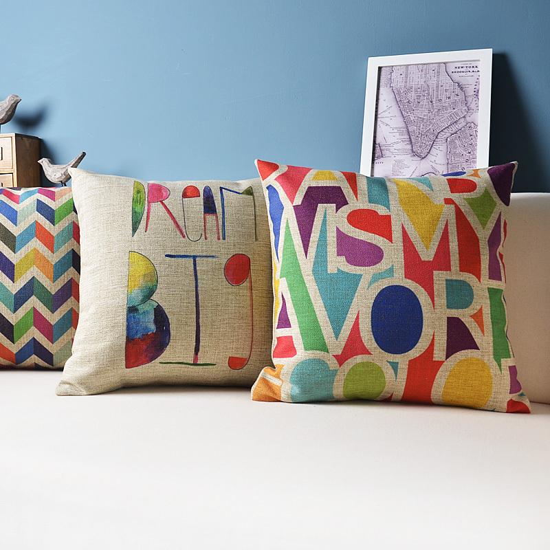 "18"" stylish colorful sofa pillow cushion cover set decorative pillowcases seat cushions/almofadas, cushions home decor(China (Mainland))"