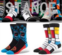Men's knee high skate jacquard cotton socks of animal/superheros symmetrical pattern high quality marijuana style stance socks
