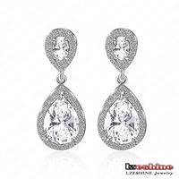 Classic Drop Shaped Earrings Platinum Plating Cubic Zircon Inlayed Dangle Fine Earrings Women Jewelry Wholesale CER0091-B