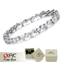 OPK Luxury Wedding Jewelry Clear Color Swiss Cubic Zirconia Diamond Women Bracelets & Bangles Platinum Plated Free Box, 929