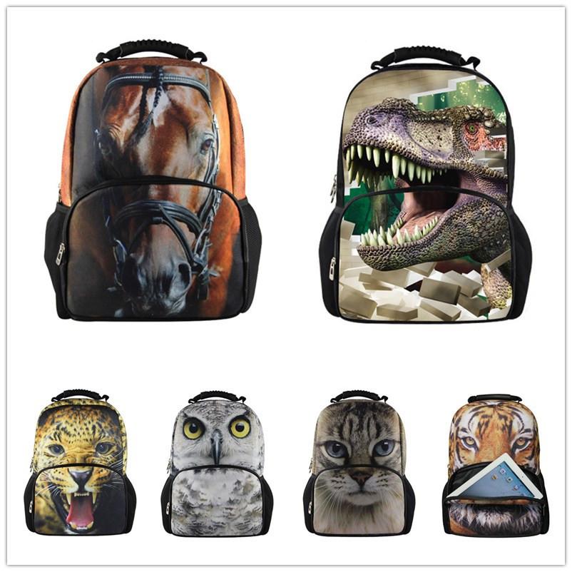New 3d 2014 tigre sacs d'école pour les enfants, animal enfants sentir. cartable pour les garçons, imprimer la mode sacs à bandoulière école, livraison gratuite
