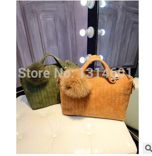 2014 new winter Han edition fashion hair bulb handbag frosted embroider line of handbags handbags bags wholesale(China (Mainland))