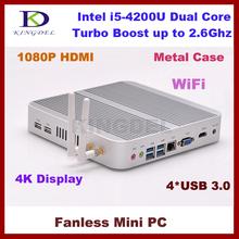 2015 New Intel i5-4200U Mini PC, Fanless HTPC with 2GB RAM+320GB HDD, 1920*1080, 4*USB 3.0, WiFi, HDMI, Metal Case, Fanless(Hong Kong)