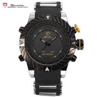 Brand Shark Bezel Swirl Design Men Wristwatch Sport Relogio Digital Waterproof Wrap Silicone Strap Fashion Casual Watch/ SH168